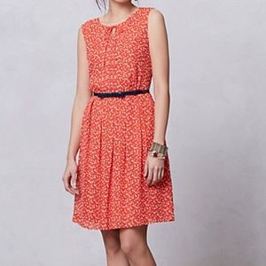 Anthropologie Hi There Dress Orange Spotted Size 0